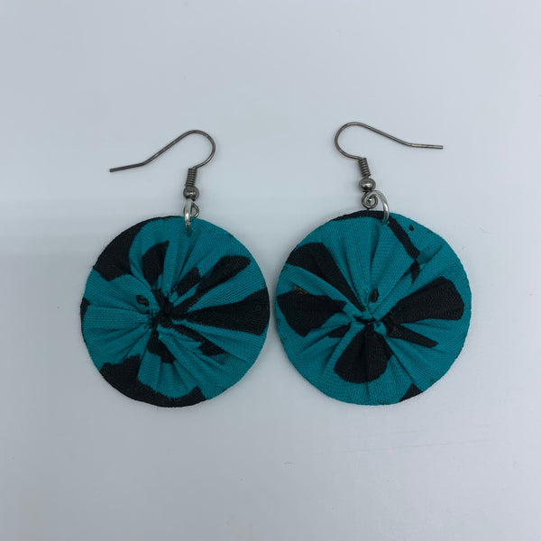 African Print Earrings-Round XS Blue Variation 41