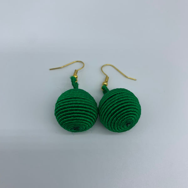 Thread W/Metal Earrings-Green 2