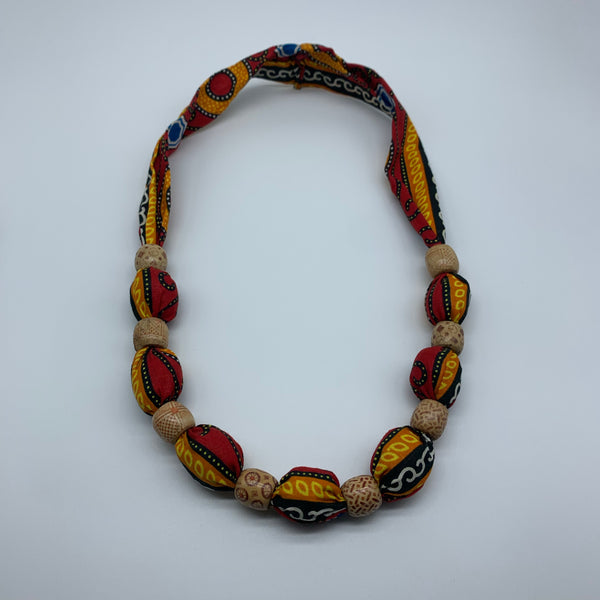 African Print Necklace W/Wooden Beads-Red Variation