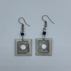Cow Bone Earrings-Black and White Square