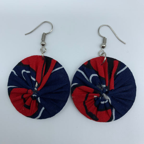 African Print Earrings-Round XS Blue Variation 42