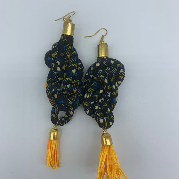 African Print Earrings-Knotted L Black Variation