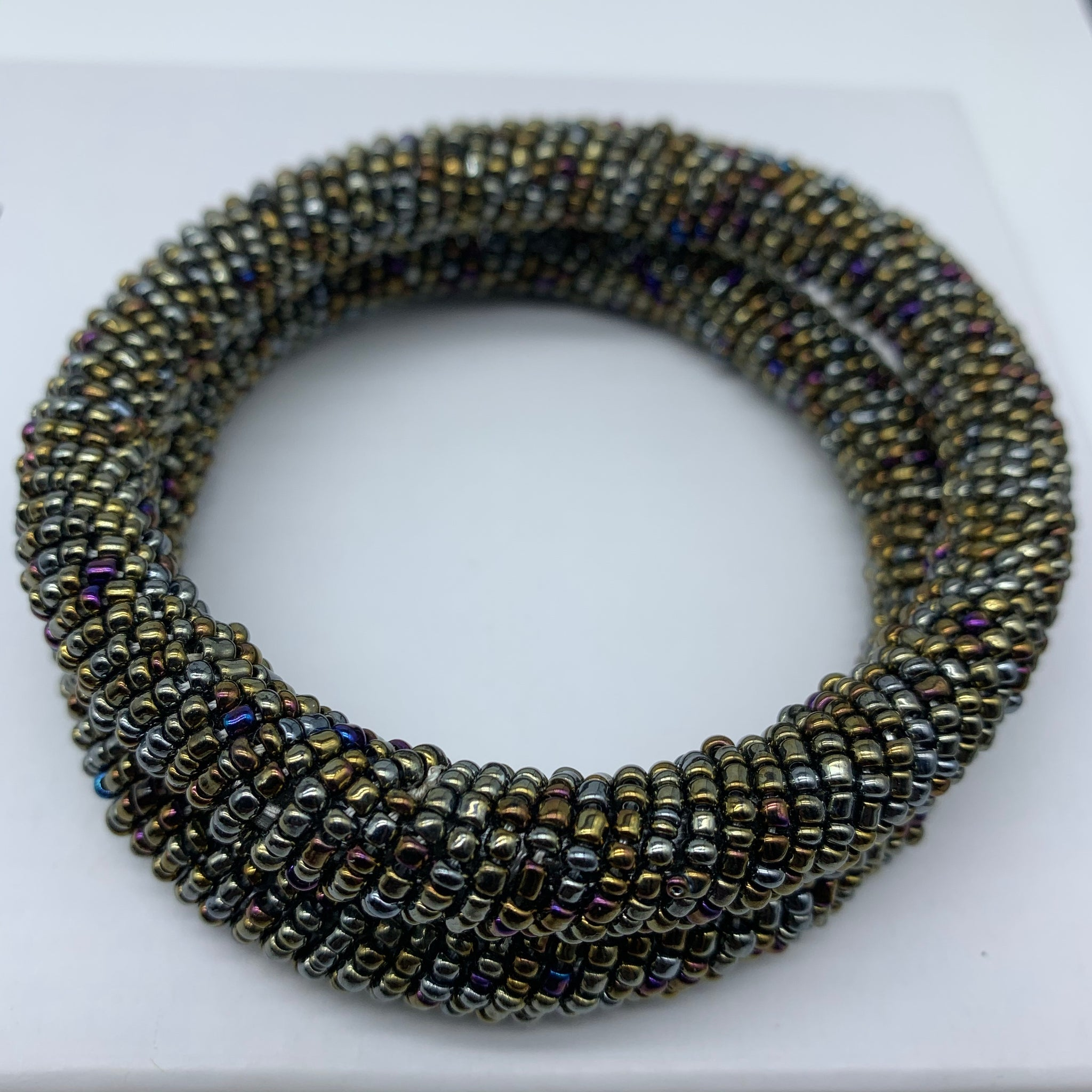 Beaded Bangle- Grey  Metallic Multi Colour  Variation