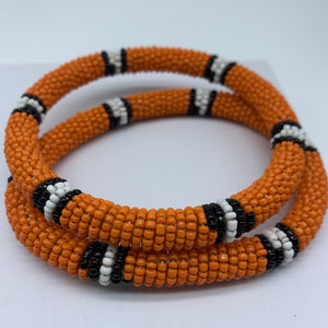 Beaded Bangle-Orange Black White Variation