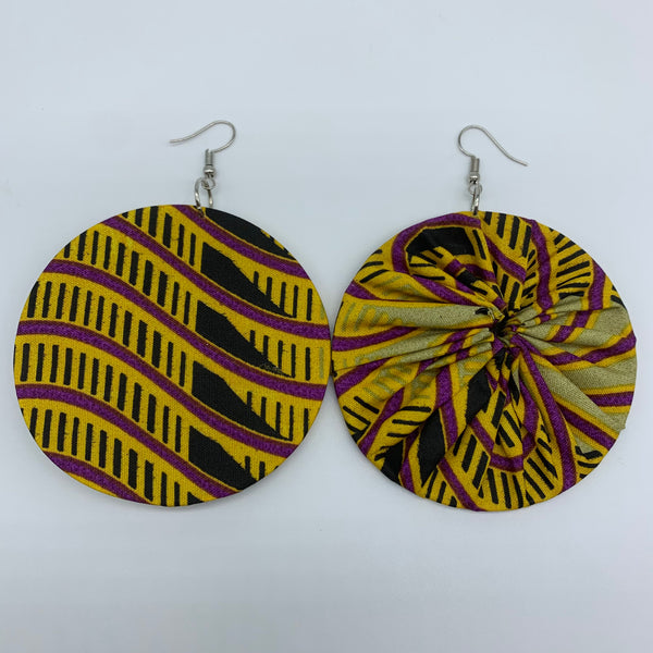 African Print Earrings-Round L Yellow Variation 3