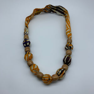 African Print Necklace W/Wooden Beads-Orange Variation