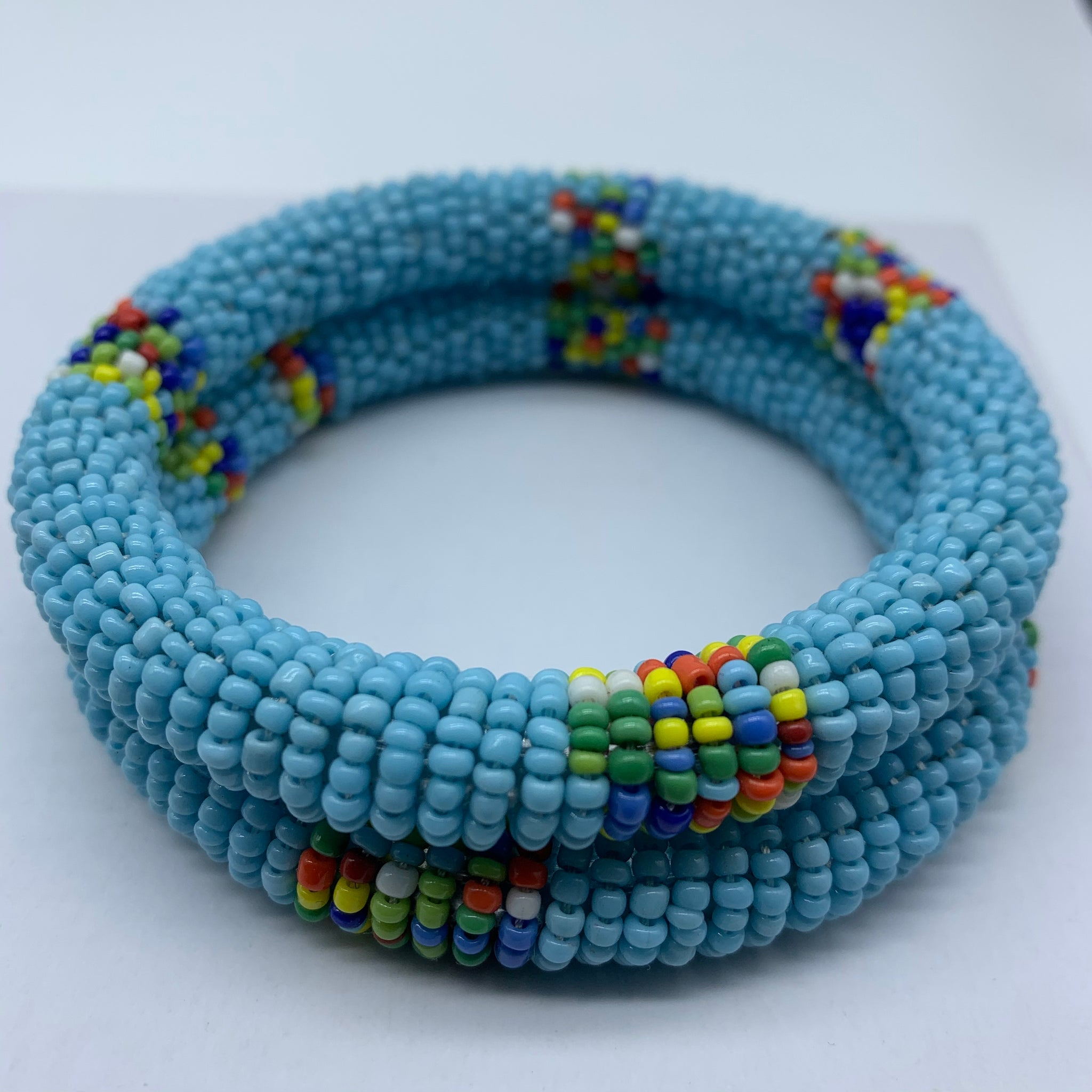 Beaded Bangle-Blue and Multi Colour Variation