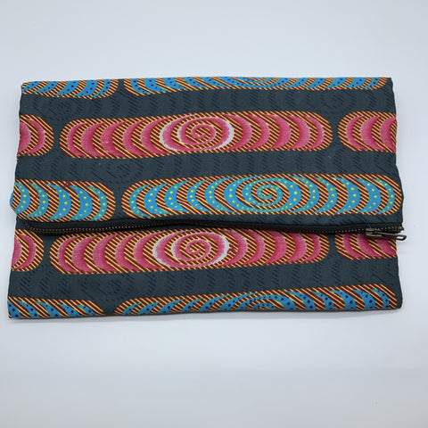 African Print Clutch- L Grey Variation - Lillon Boutique