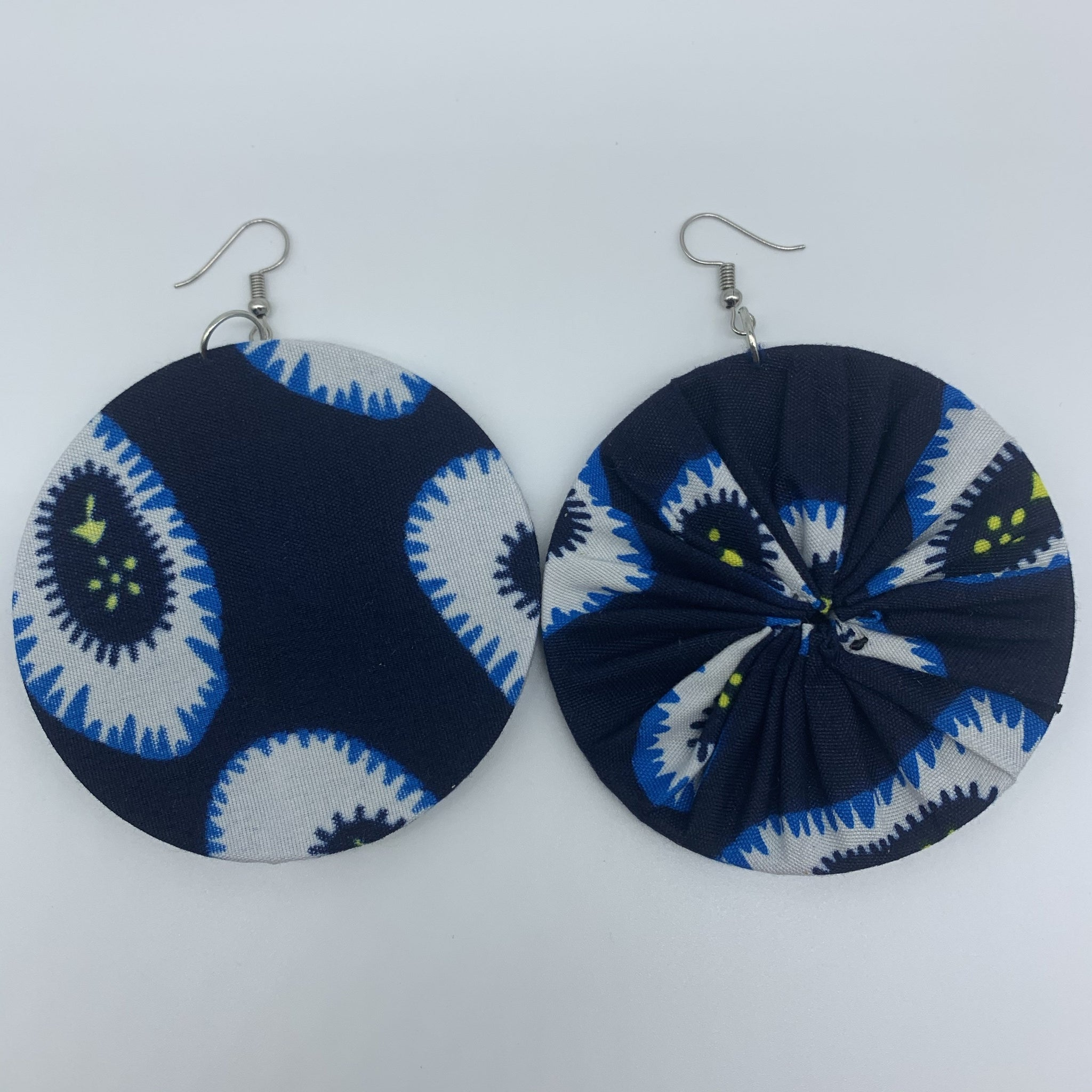 African Print Earrings-Round L Blue Variation 10