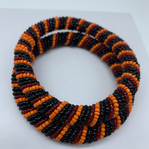 Beaded Bangle-Red Orange Black Variation