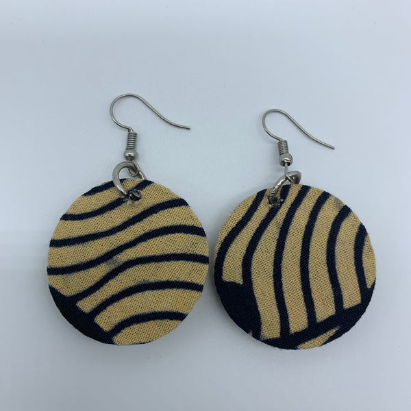 African Print Earrings-Round XS Beige Variation