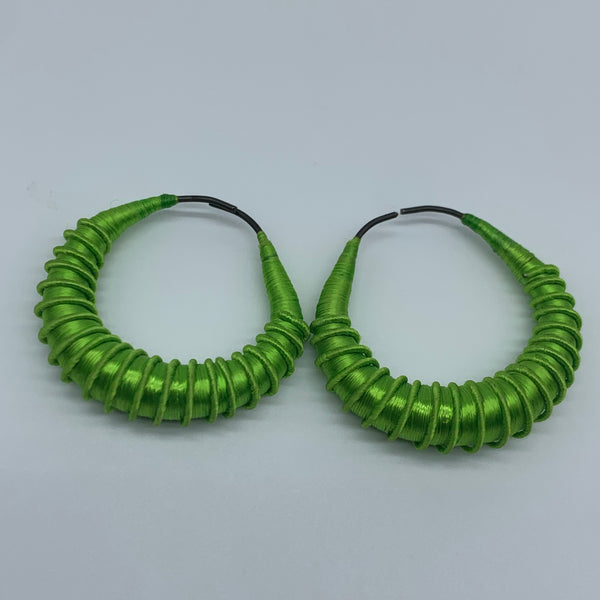 Malian Thread Earrings-Green Variation