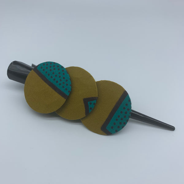 African Print Hair Clip- L Green Variation - Lillon Boutique