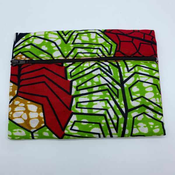 Red & Green  padded African Print Makeup bag/Pencil case