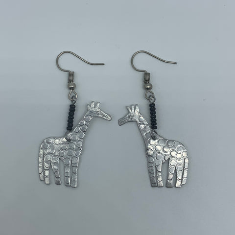 Silvery Metal Earrings-Giraffe