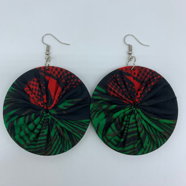 African Print Earrings-Round M Green Variation 5