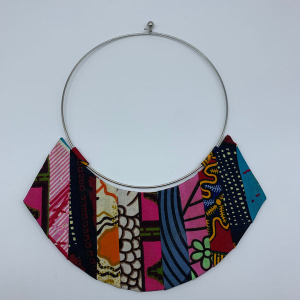 African Print Bangle Thin Necklace-Reversible Pink Variation 2