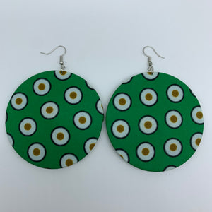 African Print Earrings-Round L Green Variation 16