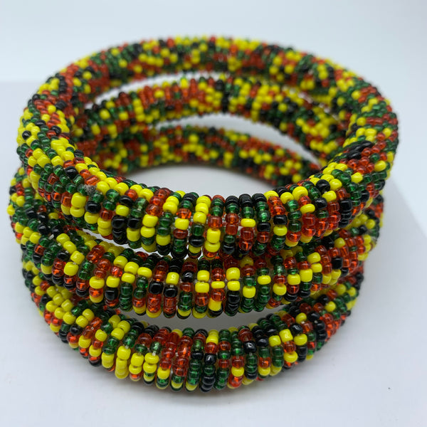 Beaded Bangle-Yellow Black Red Green Variation 2