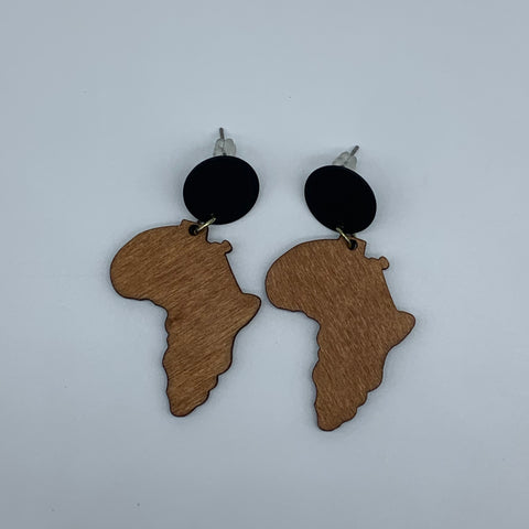 Wooden Earrings W/ Metal -African Continent Natural Variation - Lillon Boutique