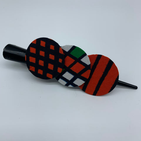 African Print Hair Clip- L Orange Variation 2