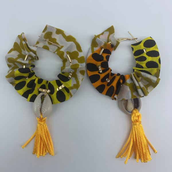 African Print W/Shell Earrings-Ruffle Hoops Orange Variation 2 - Lillon Boutique