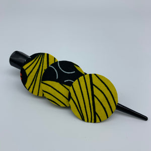 African Print Hair Clip- L Yellow Variation - Lillon Boutique
