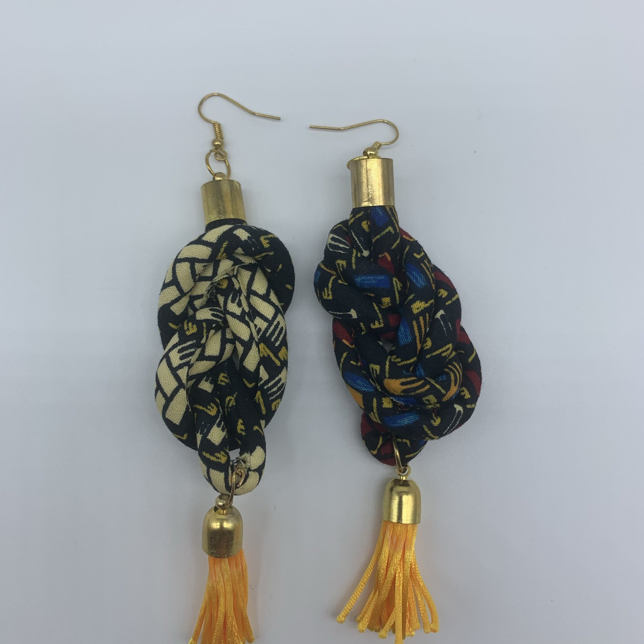 African Print Earrings-Knotted L Black Variation 2 - Lillon Boutique