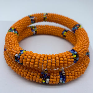 Beaded Bangle-Orange and Multi Colour