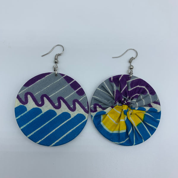 African Print Earrings-Round S Blue Variation 18