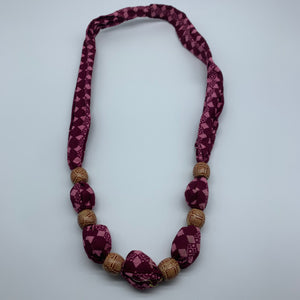 African Print Necklace W/Wooden Beads-Pink Variation 4