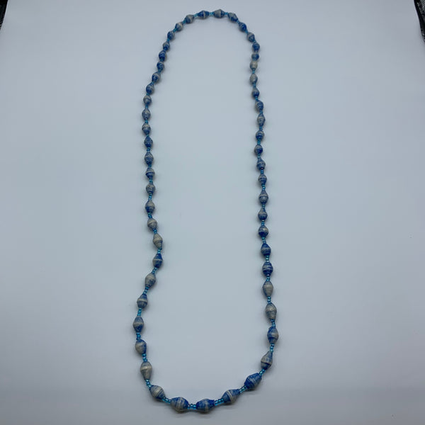 Paper Necklace with Beads-Blue Variation 4