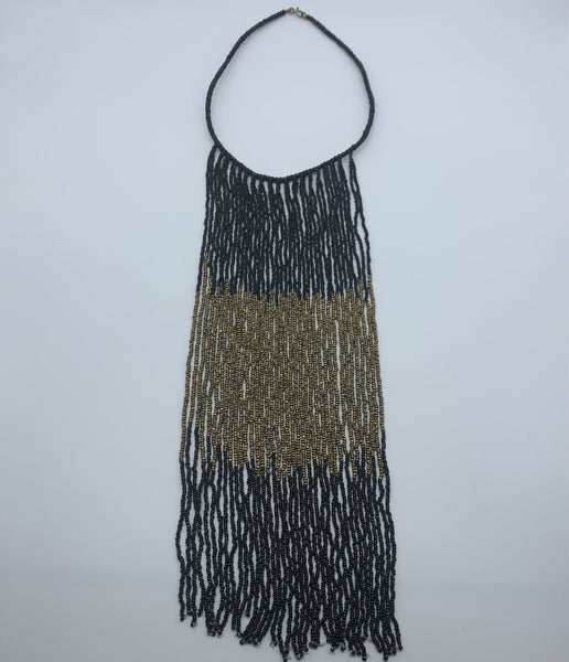 Beaded Bangle Thin Necklace-Waterfall L Black Variation - Lillon Boutique