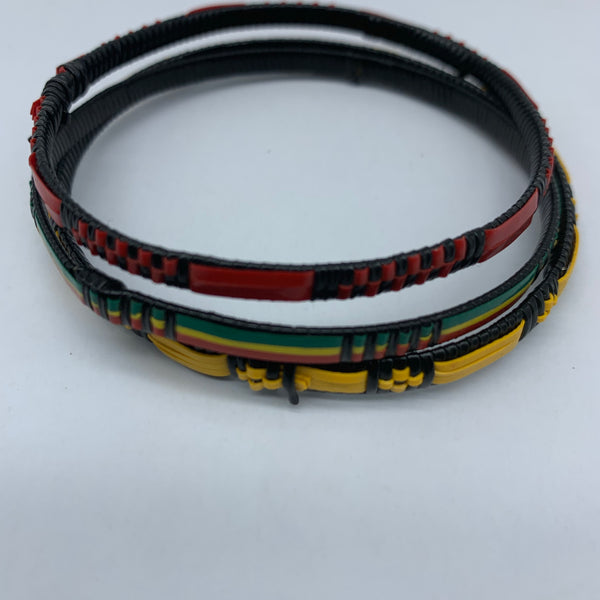 Metal W/ Plastic Bangle-XS Multi Colour-Green Yellow Red Variation