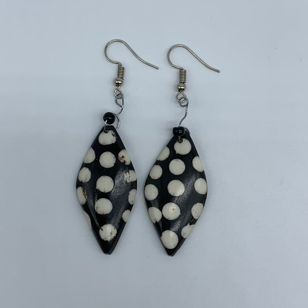 Cow Bone Earrings-Black with White Dots 2