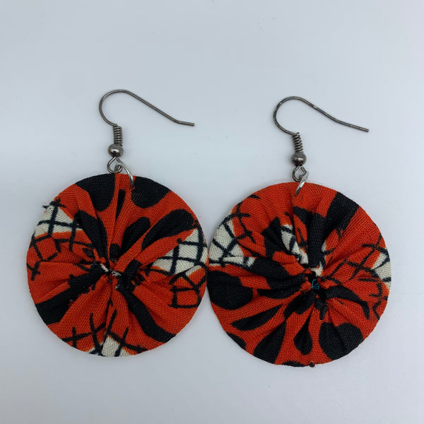African Print Earrings-Round XS Red Variation 34