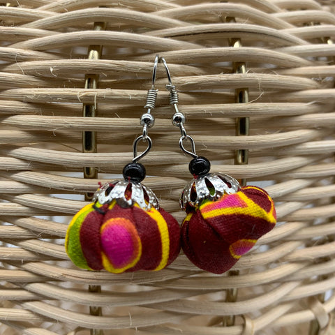 African Print Earrings W/ Beads-Puff Ball Red Variation