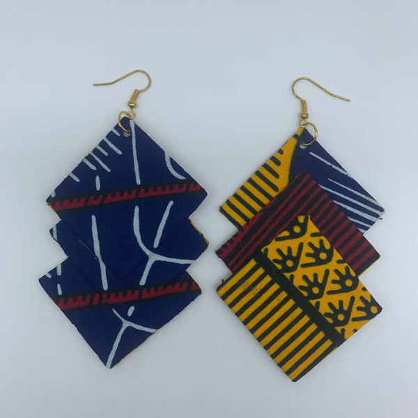 African Print Earrings-3 Squares Reversible Yellow Variation