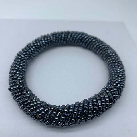 Beaded Bangle-Blue Metallic Variation 2
