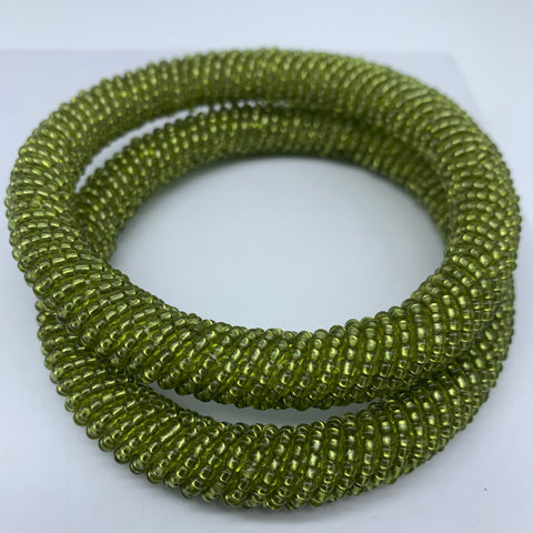 Beaded Bangle-Metallic Green 3
