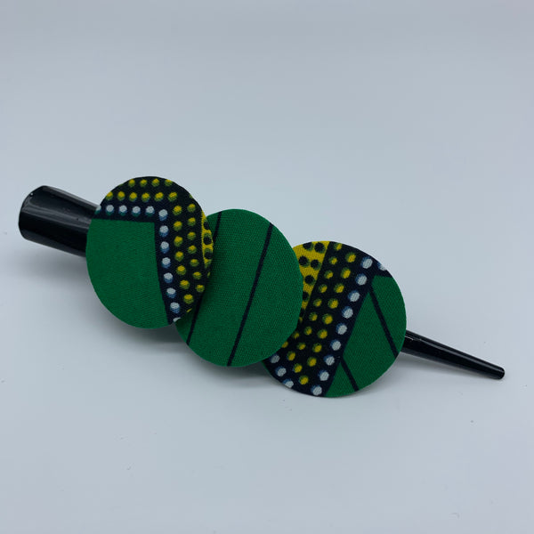 African Print Hair Clip- L Green Variation 2 - Lillon Boutique