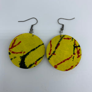 African Print Earrings-Round XS Yellow Variation 12