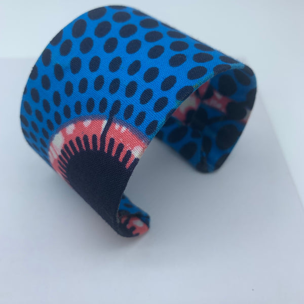 African Print Bangle- L Blue Variation