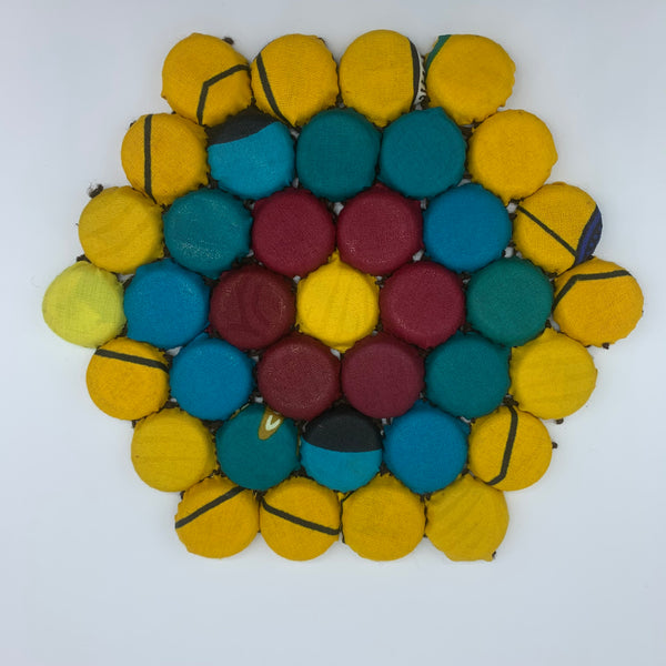 Bottle Caps Table Decoration- Flower Multi Colour Yellow Variation 2