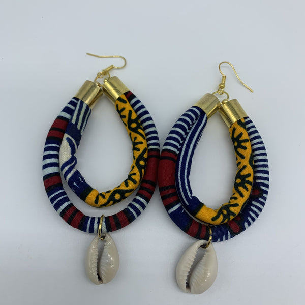African Print W/Shell Earrings- IC Blue Variation 3