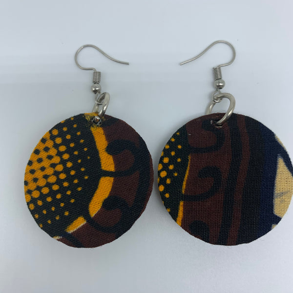African Print Earrings-Round XS Brown Variation 5
