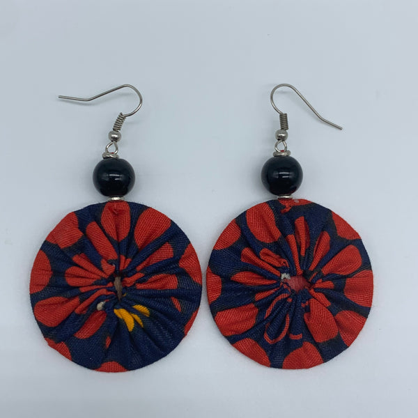 African Print Earrings W/ Beads-Round XS Red Variation