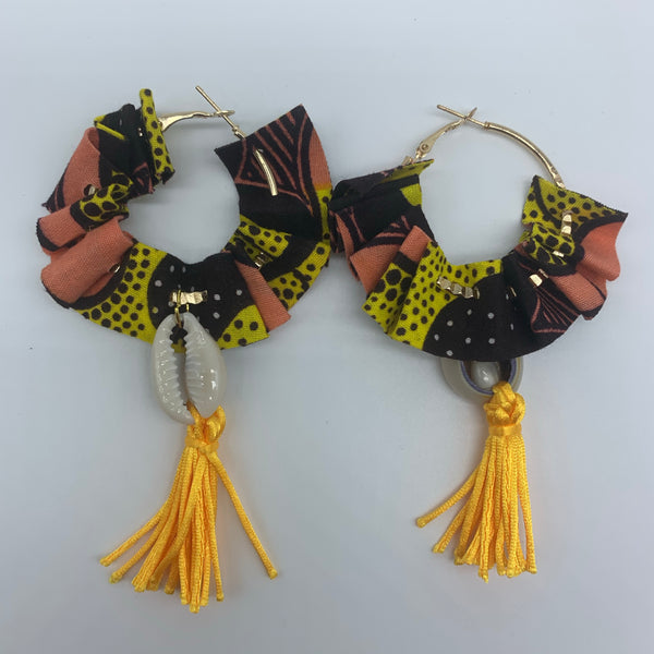 African Print W/Shell Earrings-Ruffle Hoops Pink Variation