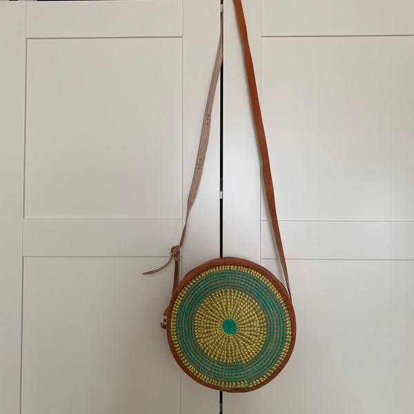 Leather W/Rattan Bag-Circle Green Variation