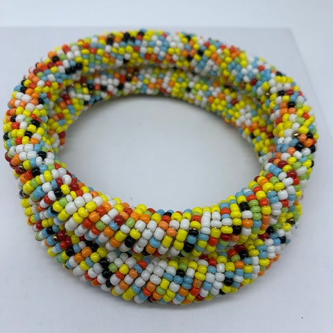 Beaded Bangle-Yellow and Multi Colour